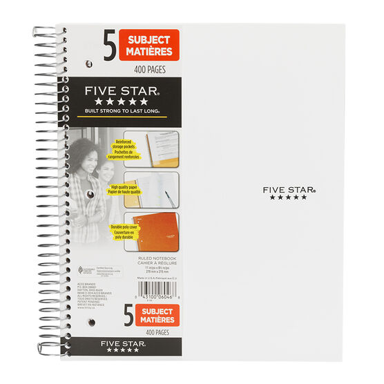 Mead Five Star Five Subject Notebook - 400 pages