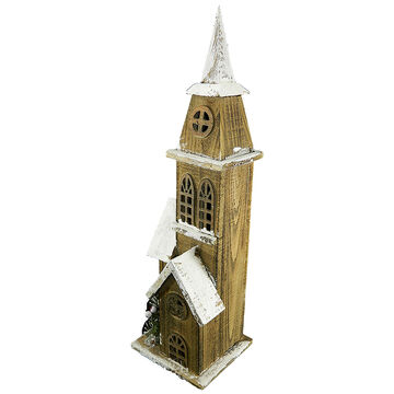 Christmas Forever Wooden Church with Snow - 21 inch