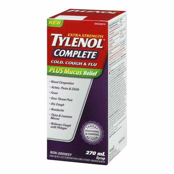 Tylenol* Complete Cold, Cough & Flu Plus Mucus Relief - Extra Strength - 270ml
