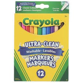 Crayola Washable Original Fine Line Markers - 12 pack