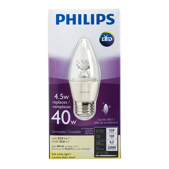 Philips Chandelier LED - Soft White - Medium Base - 4.5w/2700k