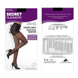 Secret Silky Slimmers Control Top Pantyhose - D - Black