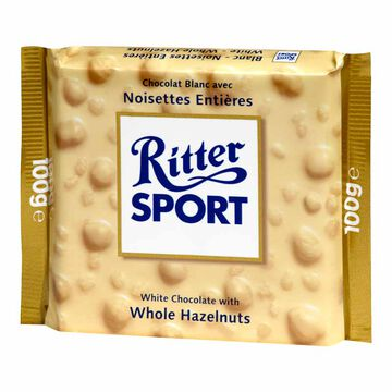 Ritter Sport Chocolate Bar - White Chocolate and Whole Hazelnuts - 100g