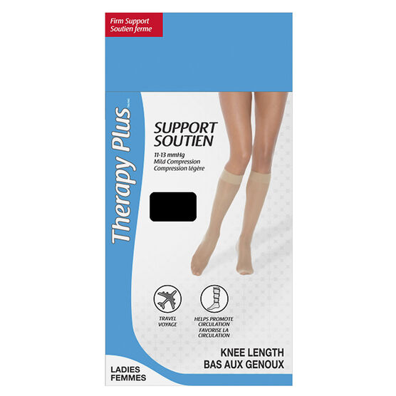 Therapy Plus Firm Support Ladies Knee High Socks - Black - One Size