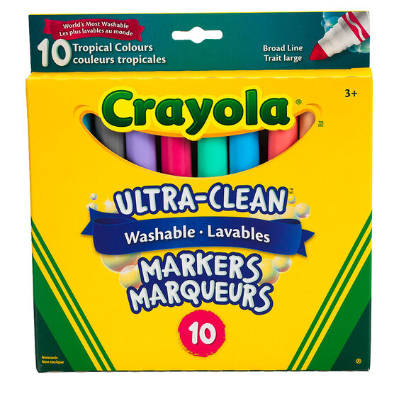 Crayola Ultra-Clean Washable Markers - Broad Line - Tropical Colours - 10 Pack