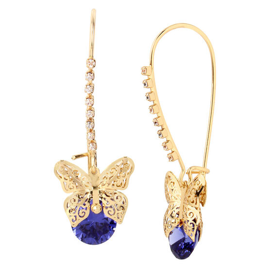 Betsey Johnson Butterfly Shepherd Hook Earrings - Amethyst