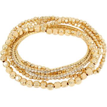 Haskell Stretch Beaded Bracelet Set - Crystal/Gold