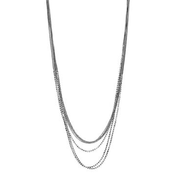 Haskell Multi Chain Necklace - Crystal/Rhodium