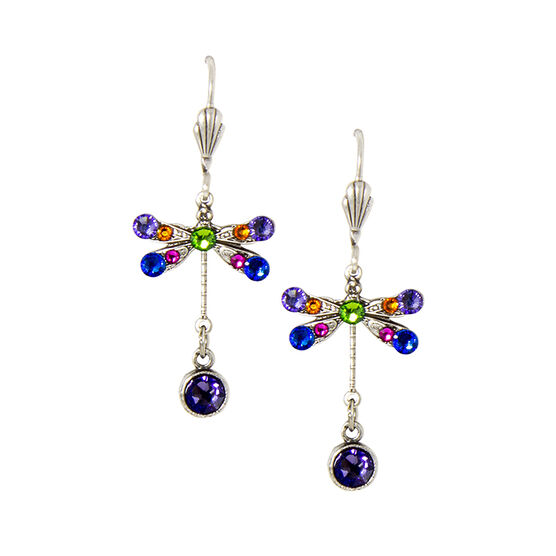 Anne Koplik Small Tanzanite Multi-Coloured Dragonfly Earrings
