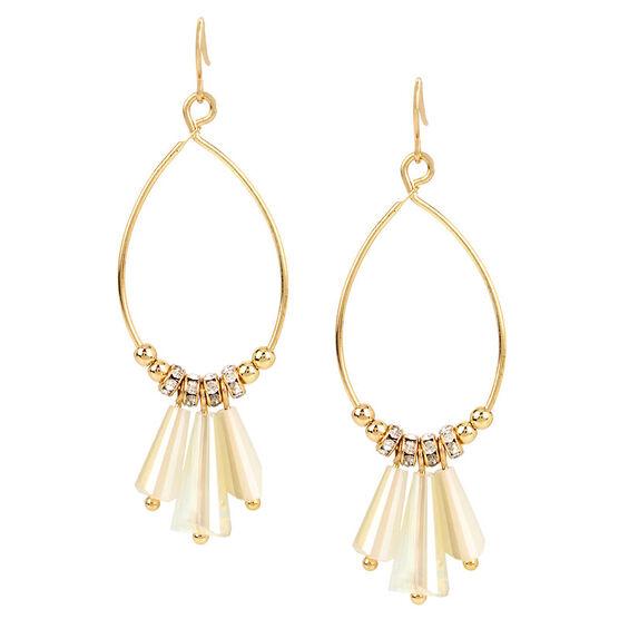 Haskell Beaded Drop Hoop Earrings - Neutral/Gold