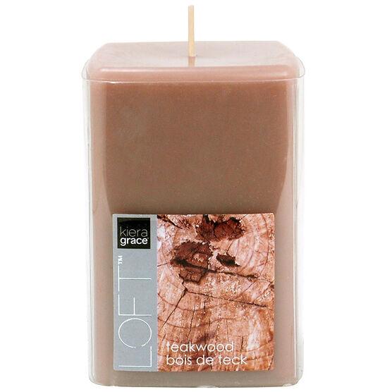 Kiera Grace Loft Pillar Candle - Teakwood - 4inch