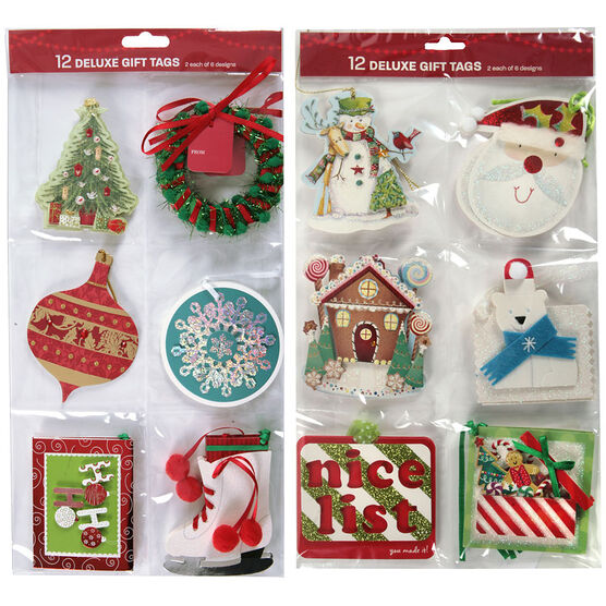 Christmas Accent Gift Tags - 12 pieces - Assorted