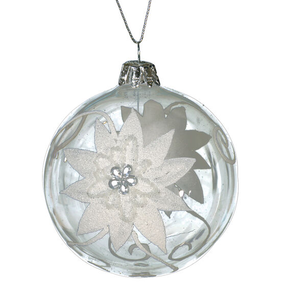 Winter Wishes Blue Ice Glass Ornament - Flower