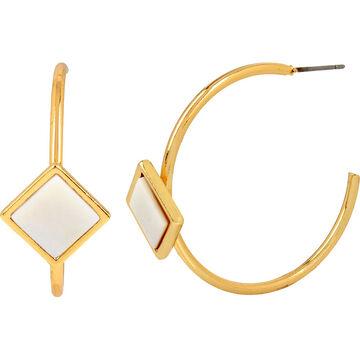 Haskell Stone Hoop Earrings - White/Gold