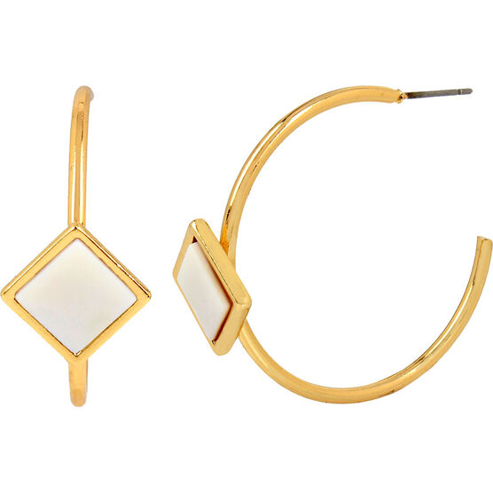 Haskell Stone Hoop Earrings - White/Gold