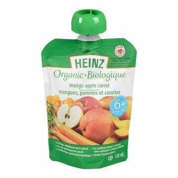 Heinz Organic Baby Food Pouch - Mango/Apple/Carrot - 128ml