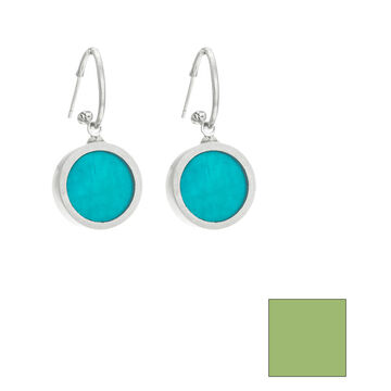 Merx Reversible Circle Resin Shell Drop Earrings - Turquoise/Lime