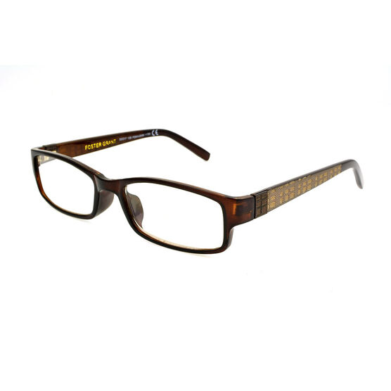 Foster Grant Derick Reading Glasses with Case - Brown/Gold - 2.50