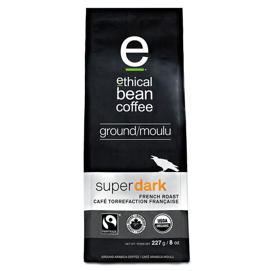 Ethical Bean Ground Coffee - Super Dark French Roast - 227g