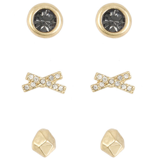 Kenneth Cole X Stud Earring Trio - Crystal/Gold Plated