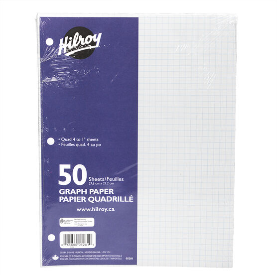 "Hilroy Graph Paper - 4:1"" - 50 sheet"