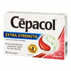 Cepacol Extra Strength Oral Lozenges - Sucrose Free - Cherry - 16's