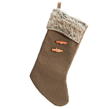 Winter Wishes Lodge Knitted Sock Stocking - 18 inches