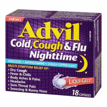 Advil Cold, Cough & Flu Nighttime Liqui-Gels - 18's