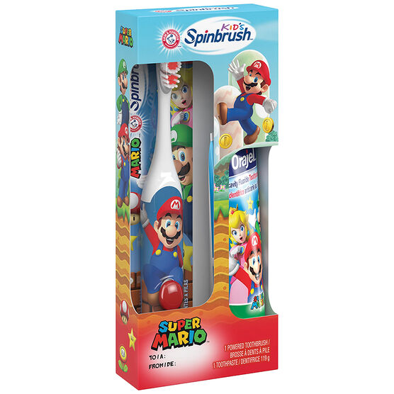 Arm & Hammer Kids Spinbrush with Orajel Toothpaste - Super Mario