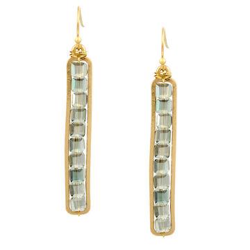 Haskell Beaded Bar Earrings - Green/Gold