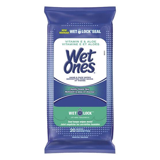 Wet Ones Hand & Face Wipes - Vitamin E & Aloe - 20's