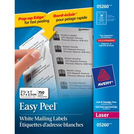 Avery Easy Peel White Address Labels for Laser Printers - 750 labels