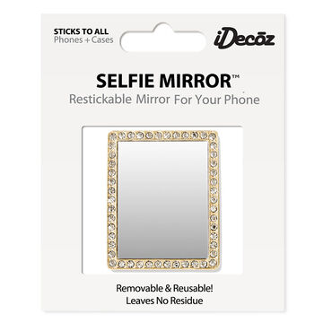 iDecoz Cubic Zirconia Rectangle Selfie Mirror - Gold