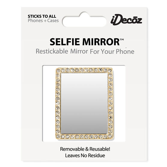 iDecoz Cubic Zirconia Rectangle Selfie Mirror - Gold