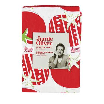 Jamie Oliver Tea Towels - Berry - 2 pack