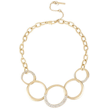 Kenneth Cole Link Frontal Necklace - Crystal/Gold Plated