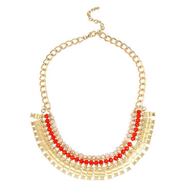 Haskell Frontal Statement Necklace - Fuchsia/Gold