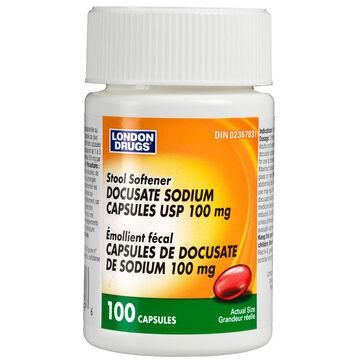 London Drugs Stool Softener Docusate Sodium 100mg - 100's