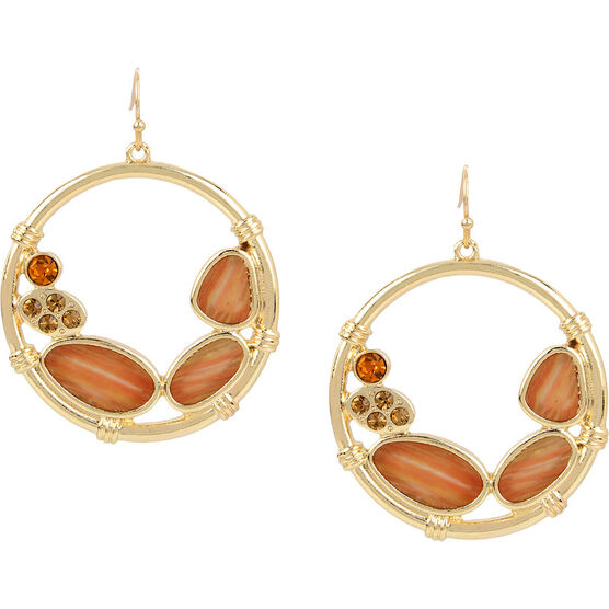 Haskell Stone Hoop Earrings - Brown/Gold
