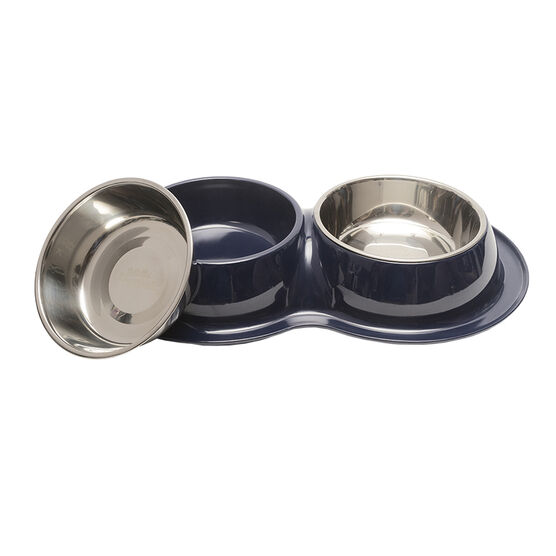 Totally Pooched Double Dinner Bowls - Blue