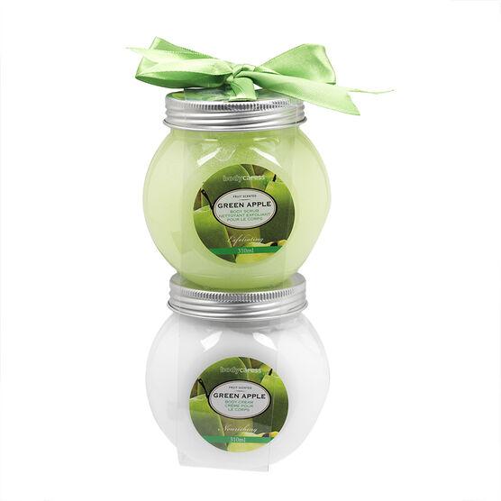BodyCaress Body Scrub & Body Cream - Green Apple - 2 x 310ml