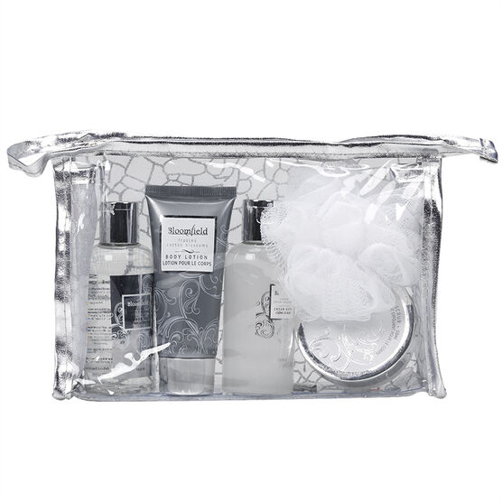 Bloomfield Silver Cosmetic Gift Bag Set - Frosted Cotton Blossoms - 5 piece