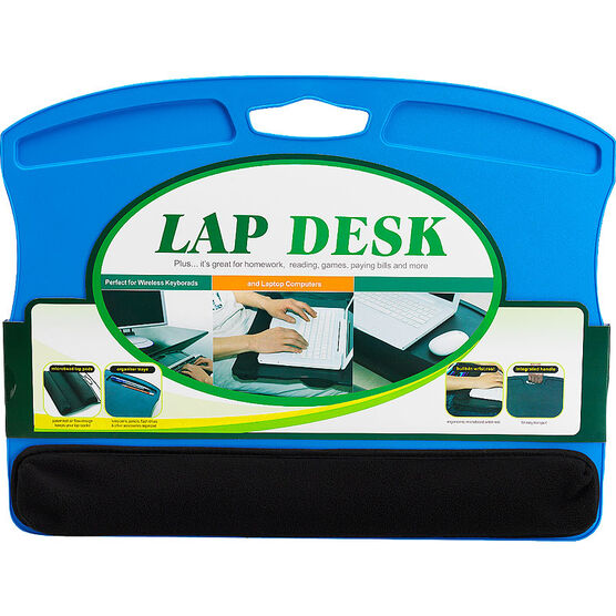 Lap Desk with Microbead Wrist Rest - Blue