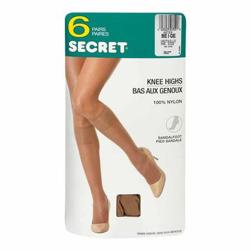 Secret Comfort Band Knee High - Beige - 6 pairs