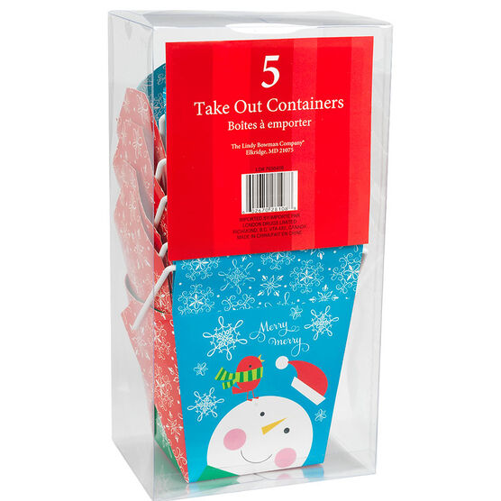 Christmas Take Out Containers - 5's