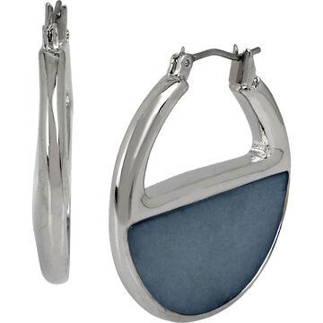 Kenneth Cole Half Circle Hoop  Earrings - Blue/Rhodium