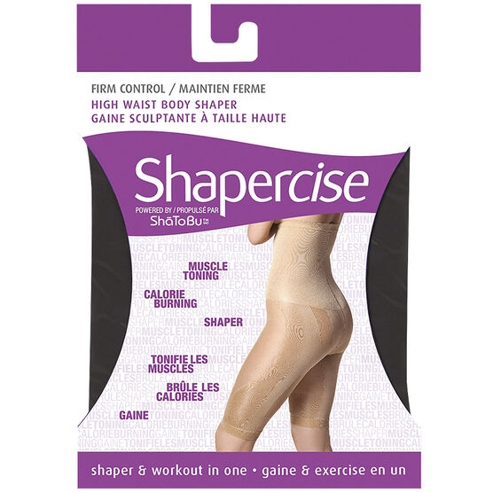 Shapercise High Waist to Knee - Large - Black