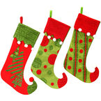 "Danson Elf Shoe Stocking - Assorted - 21"""