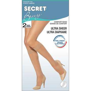 Secret Breeze Ultra Sheer Knee High's - Black - 2 pair
