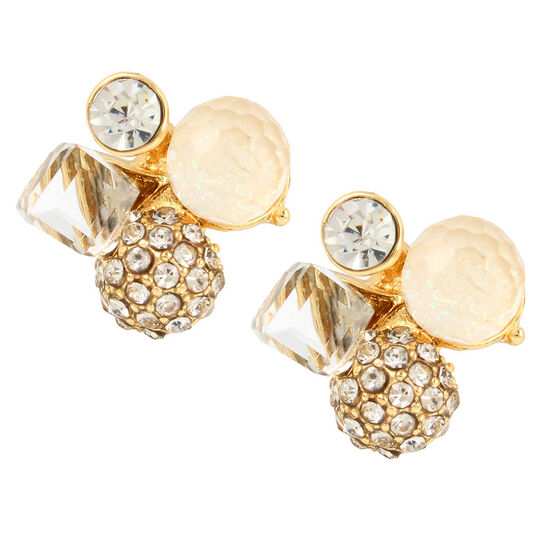 Haskell Cluster Stud Earrings - Crystal/Gold